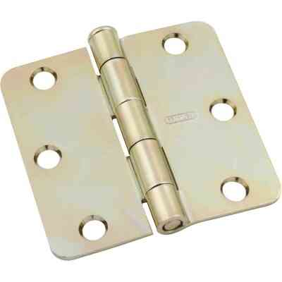 National 3 In. x 1/4 In. Radius Satin Brass Door Hinge
