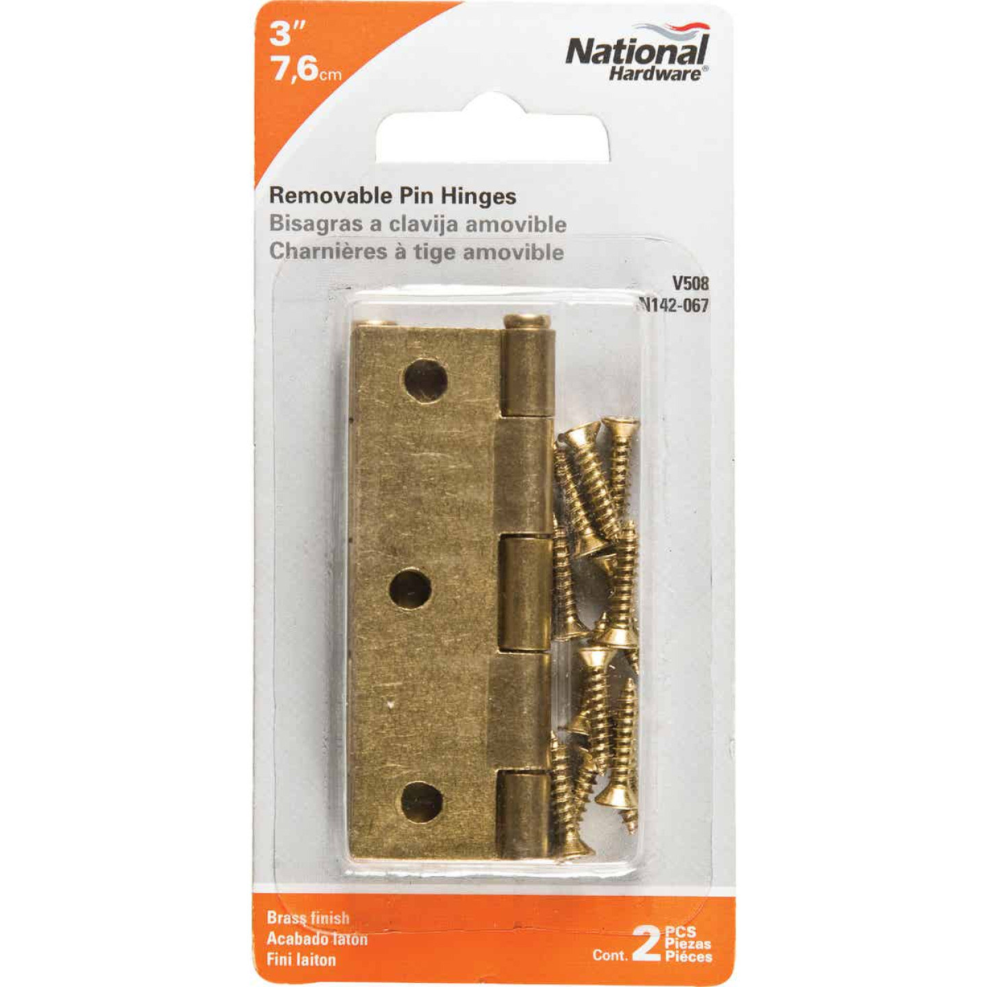 National 3 In. Brass Loose-Pin Narrow Hinge (2-Pack) Image 2