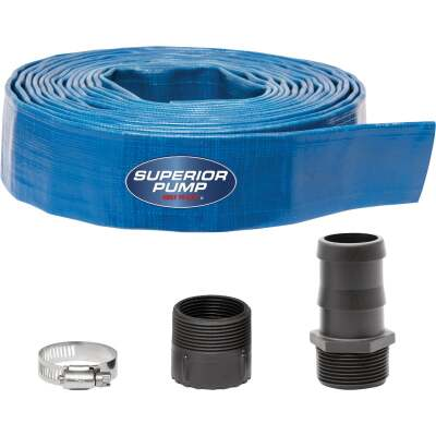 Superior Pump 1-1/2 In. Dia. x 25 Ft. L Lay-Flat Discharge Sump Pump Hose Kit